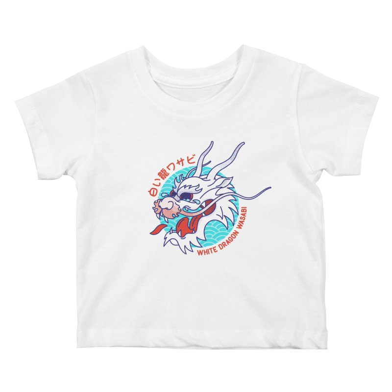 White Dragon Wasabi Kids Baby T-Shirt by Quick Brown Fox