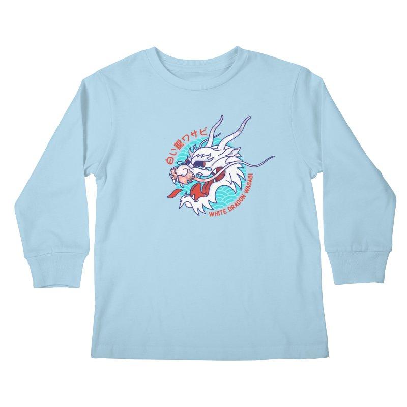 White Dragon Wasabi Kids Longsleeve T-Shirt by Quick Brown Fox