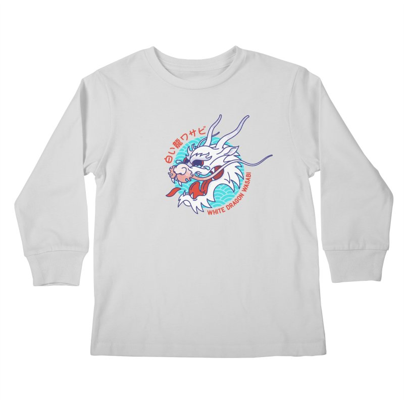 White Dragon Wasabi Kids Longsleeve T-Shirt by Quick Brown Fox