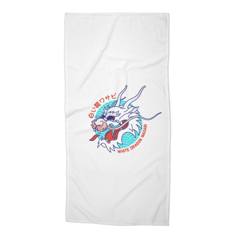 White Dragon Wasabi Accessories Beach Towel by Quick Brown Fox