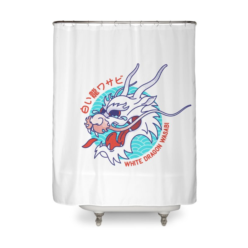 White Dragon Wasabi Home Shower Curtain by Quick Brown Fox
