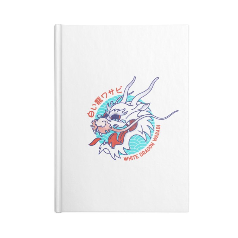 White Dragon Wasabi Accessories Blank Journal Notebook by Quick Brown Fox