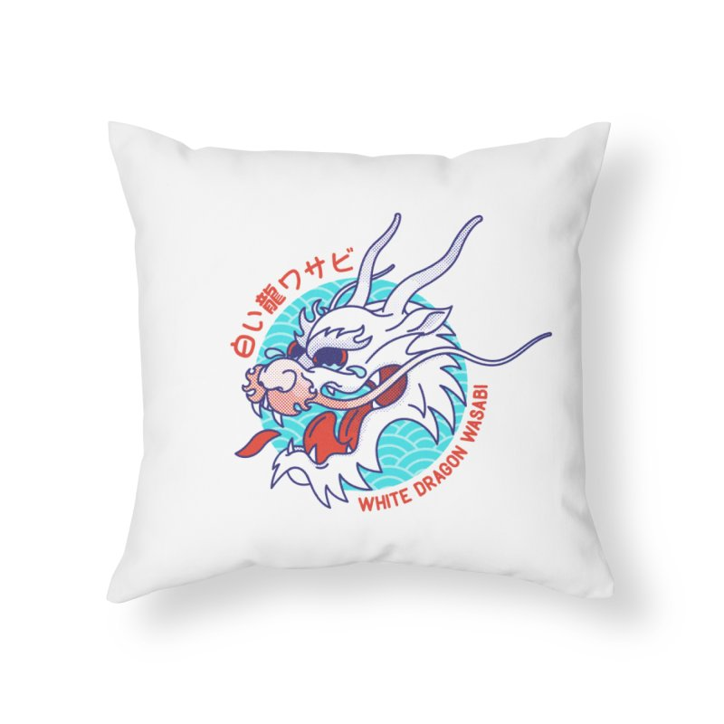 White Dragon Wasabi Home Throw Pillow by Quick Brown Fox