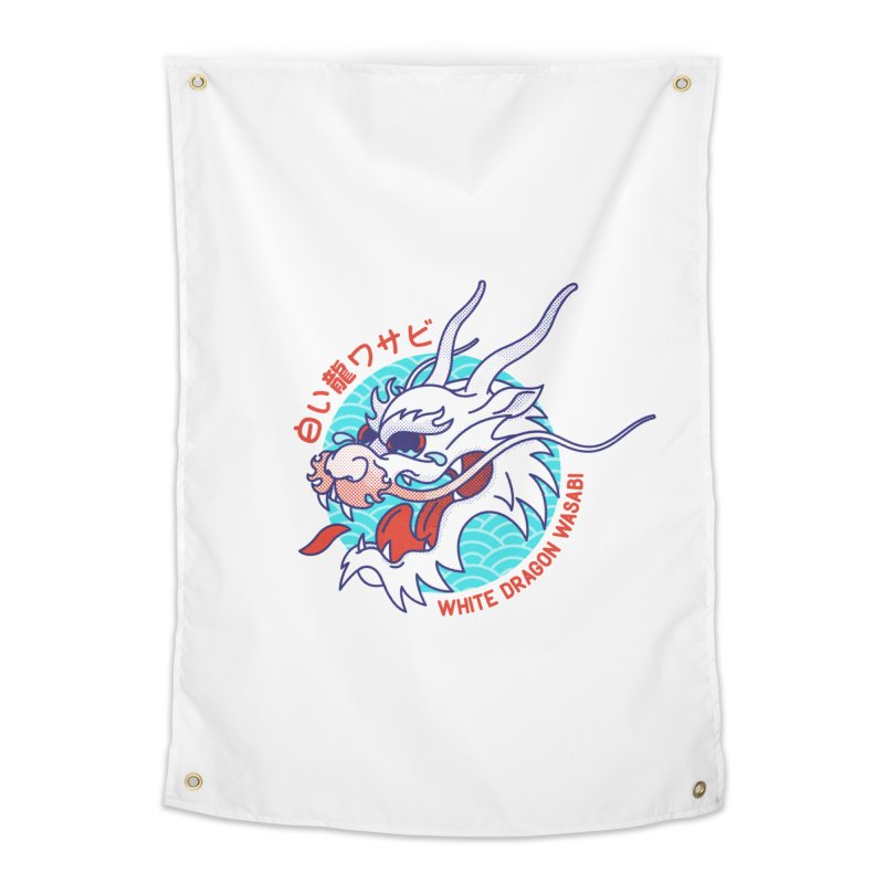 White Dragon Wasabi Home Tapestry by Quick Brown Fox