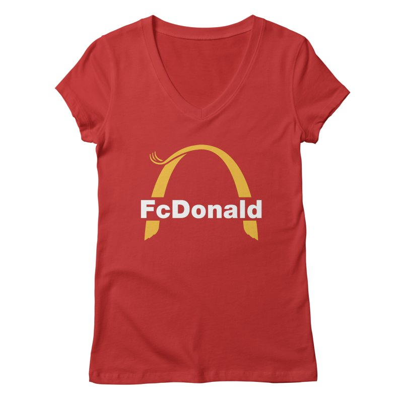FcDonald Women's Regular V-Neck by Quick Brown Fox