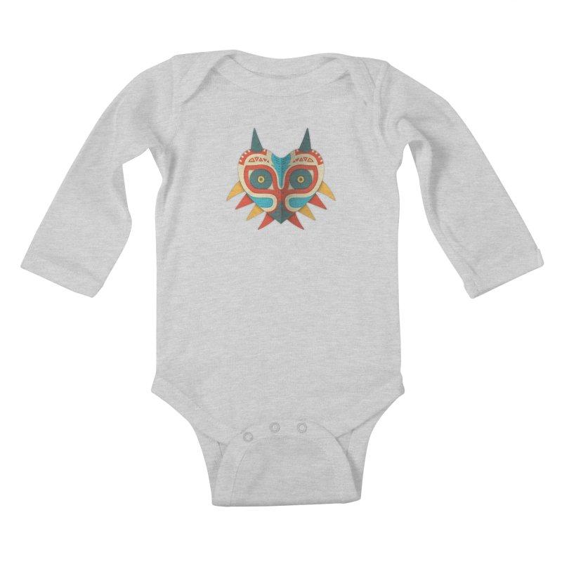 A Legendary Mask Kids Baby Longsleeve Bodysuit by Quick Brown Fox