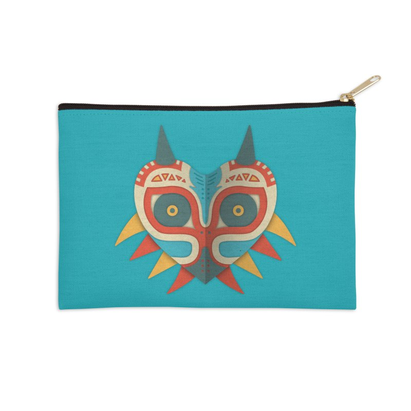 A Legendary Mask Accessories Zip Pouch by Quick Brown Fox