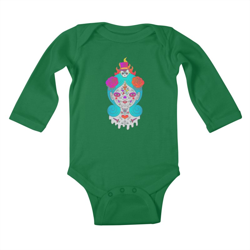 Voodoo Doll Kids Baby Longsleeve Bodysuit by Quick Brown Fox