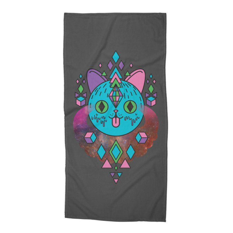 Space Kitty Accessories Beach Towel by Quick Brown Fox