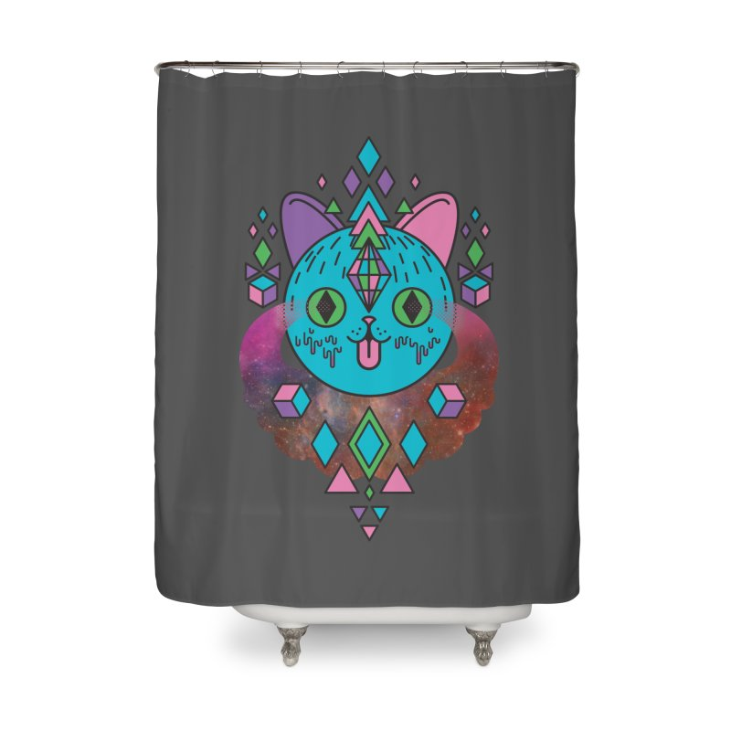 Space Kitty Home Shower Curtain by Quick Brown Fox