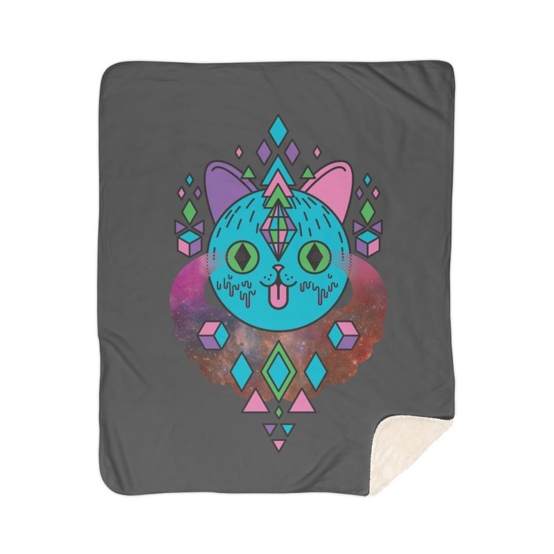 Space Kitty Home Sherpa Blanket Blanket by Quick Brown Fox