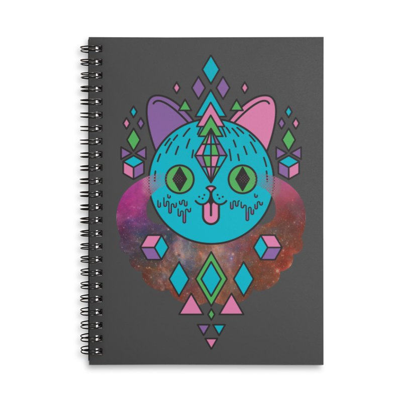 Space Kitty Accessories Lined Spiral Notebook by Quick Brown Fox