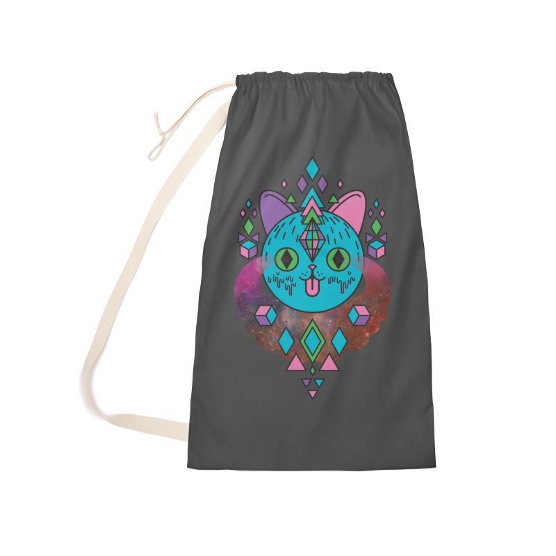 Space Kitty Accessories Laundry Bag Bag by Quick Brown Fox