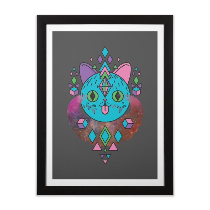 Space Kitty Home Framed Fine Art Print by Quick Brown Fox