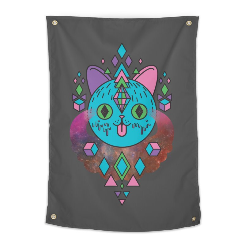 Space Kitty Home Tapestry by Quick Brown Fox