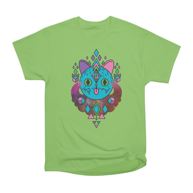 Space Kitty Men's Heavyweight T-Shirt by Quick Brown Fox