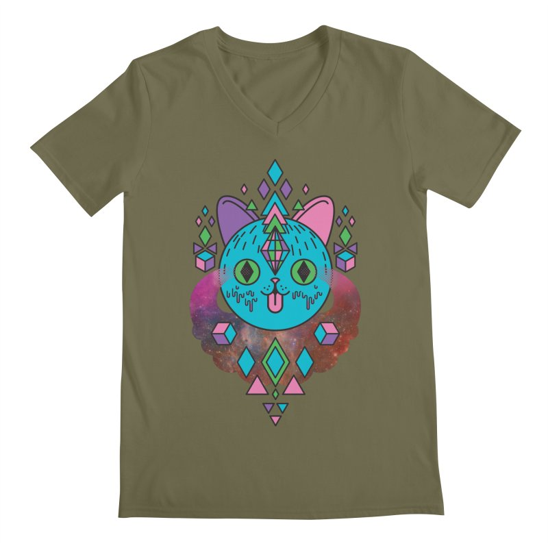 Space Kitty Men's Regular V-Neck by Quick Brown Fox