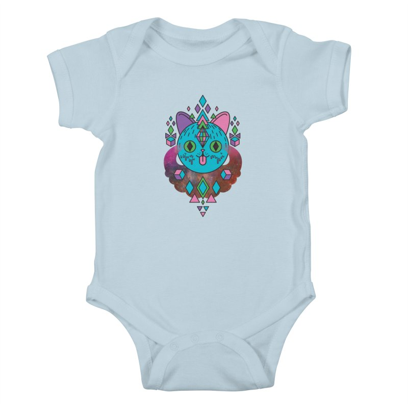 Space Kitty Kids Baby Bodysuit by Quick Brown Fox