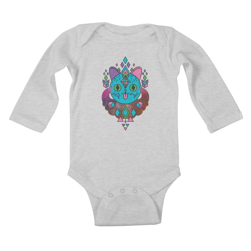 Space Kitty Kids Baby Longsleeve Bodysuit by Quick Brown Fox