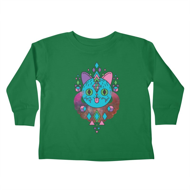 Space Kitty Kids Toddler Longsleeve T-Shirt by Quick Brown Fox