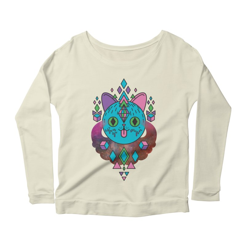 Space Kitty Women's Scoop Neck Longsleeve T-Shirt by Quick Brown Fox