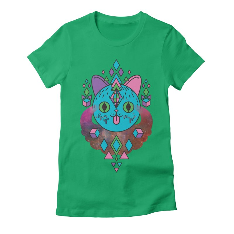 Space Kitty Women's Fitted T-Shirt by Quick Brown Fox