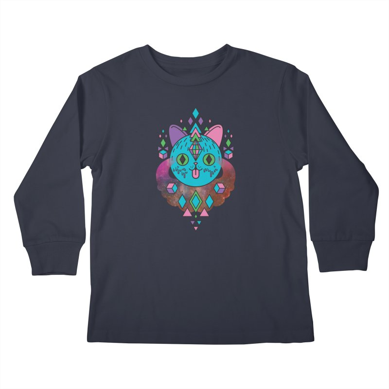 Space Kitty Kids Longsleeve T-Shirt by Quick Brown Fox