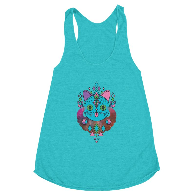 Space Kitty Women's Racerback Triblend Tank by Quick Brown Fox