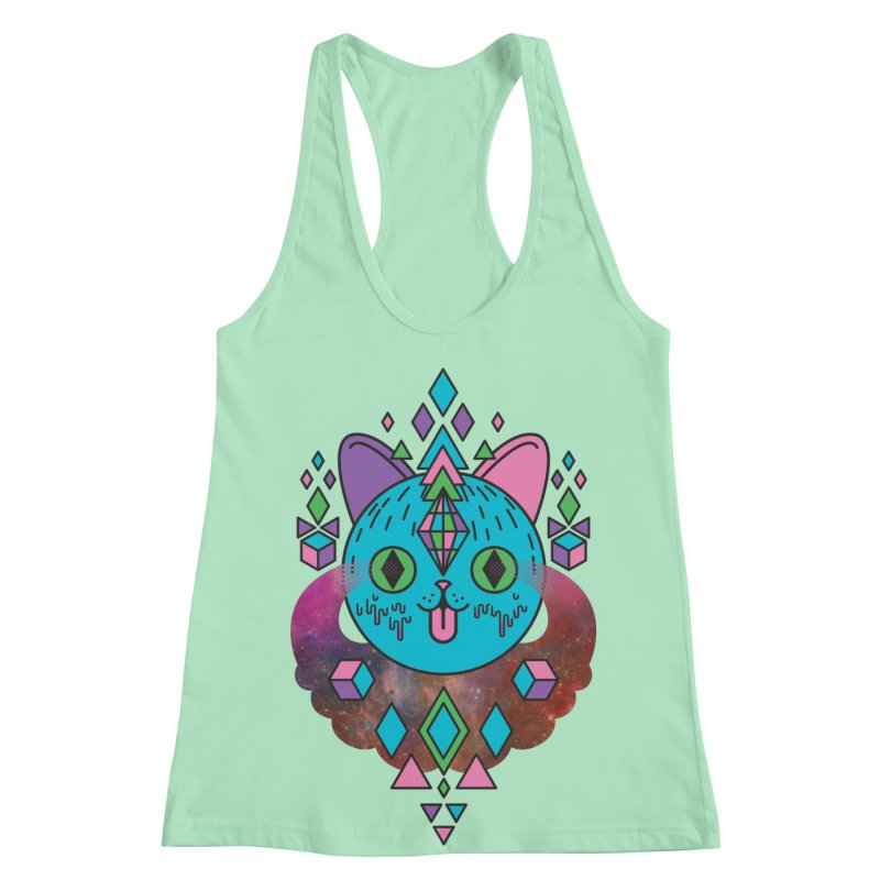 Space Kitty Women's Racerback Tank by Quick Brown Fox