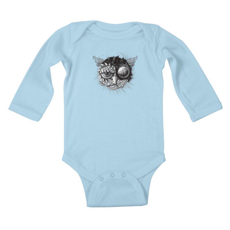 Owl Day & Owl Night Kids Baby Longsleeve Bodysuit by Qetza