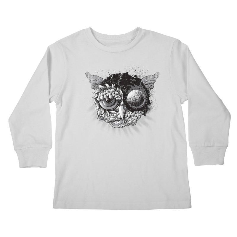 Owl Day & Owl Night Kids Longsleeve T-Shirt by Qetza