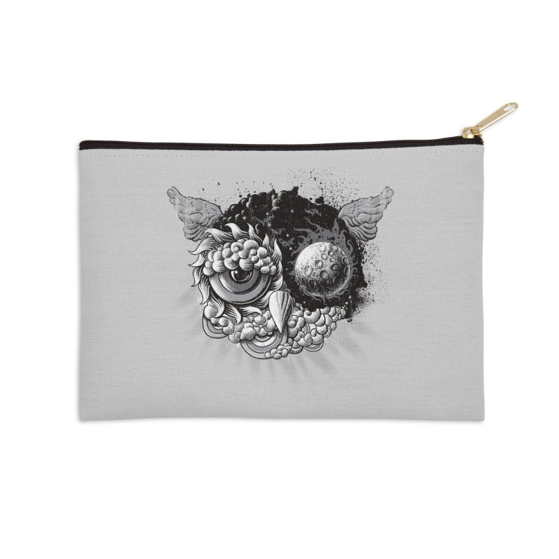 Owl Day & Owl Night Accessories Zip Pouch by Qetza