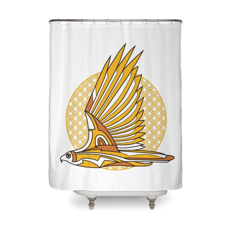 Hawk Deco 3 Home Shower Curtain by Qetza
