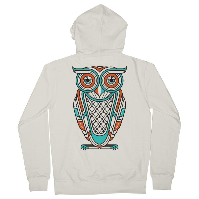 Art Deco Owl Men's Zip-Up Hoody by Qetza