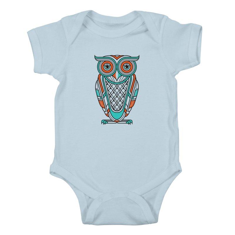 Art Deco Owl Kids Baby Bodysuit by Qetza