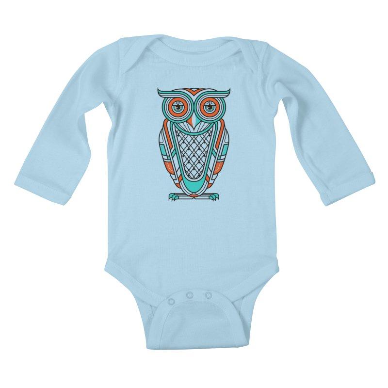 Art Deco Owl Kids Baby Longsleeve Bodysuit by Qetza