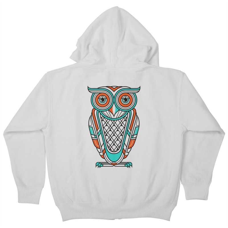 Art Deco Owl Kids Zip-Up Hoody by Qetza