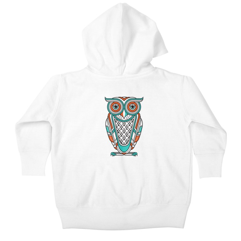 Art Deco Owl Kids Baby Zip-Up Hoody by Qetza
