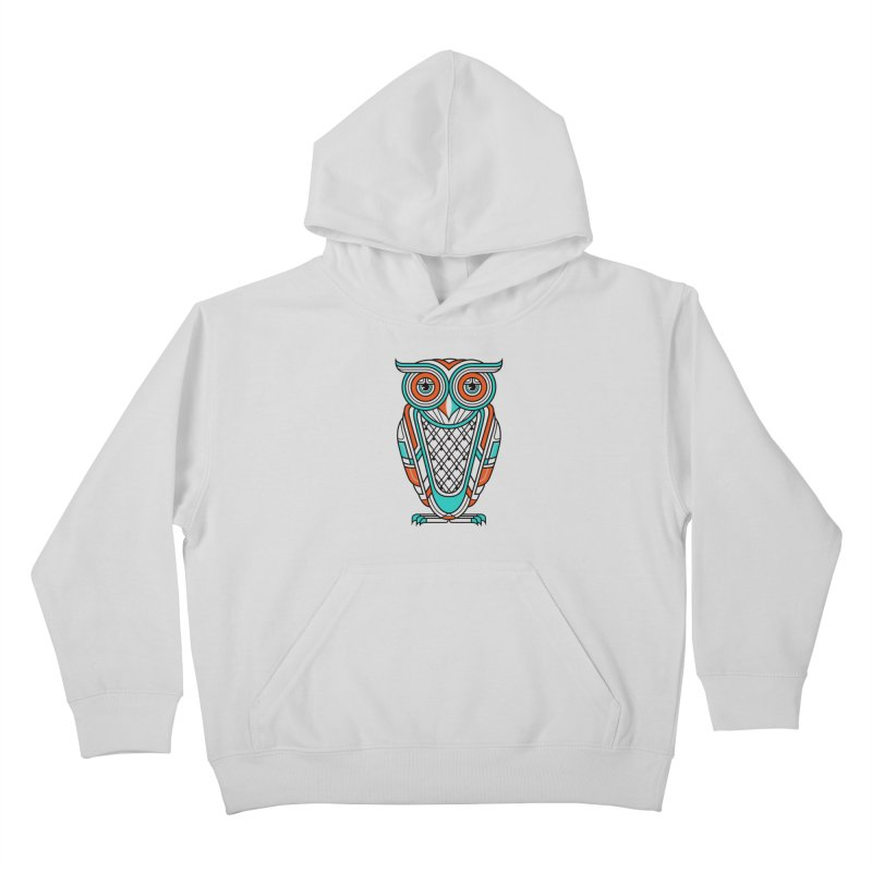 Art Deco Owl Kids Pullover Hoody by Qetza