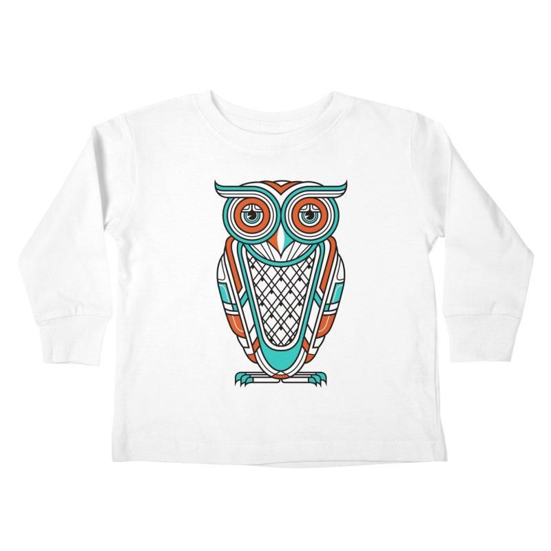 Art Deco Owl Kids Toddler Longsleeve T-Shirt by Qetza