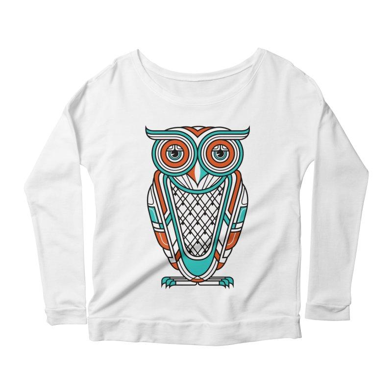 Art Deco Owl Women's Longsleeve Scoopneck  by Qetza