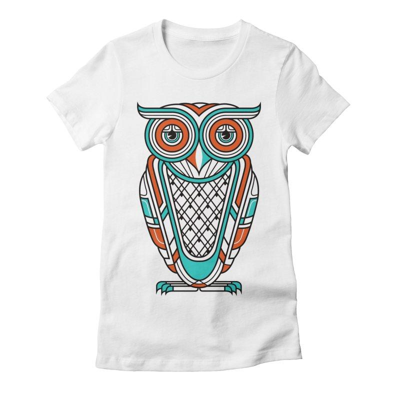 Art Deco Owl Women's Fitted T-Shirt by Qetza