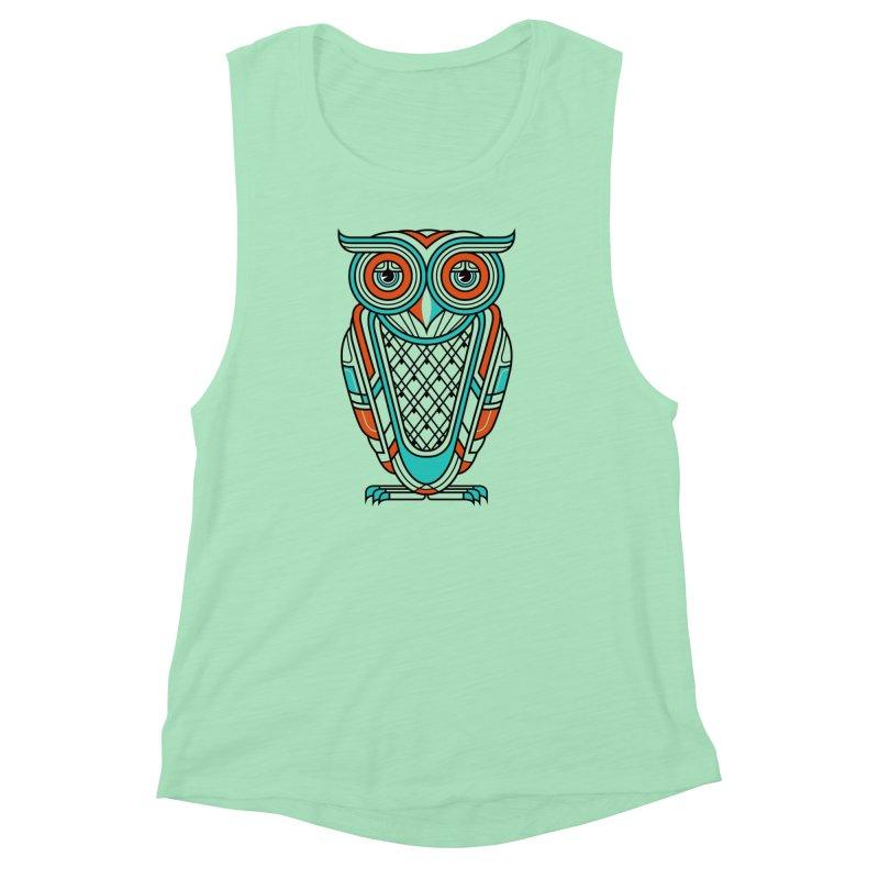 Art Deco Owl Women's Muscle Tank by Qetza