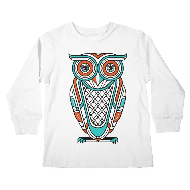 Art Deco Owl Kids Longsleeve T-Shirt by Qetza