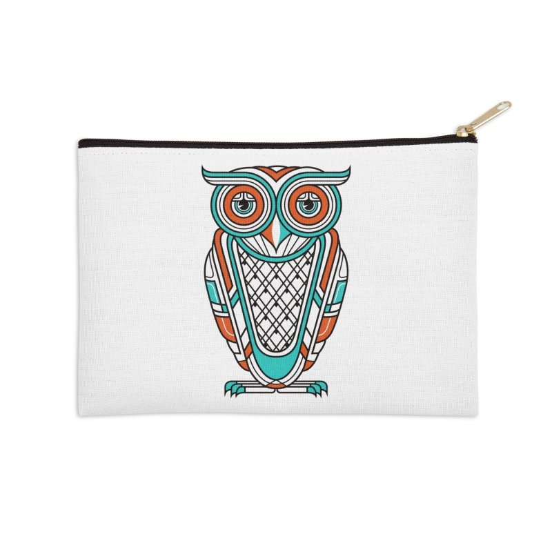 Art Deco Owl Accessories Zip Pouch by Qetza