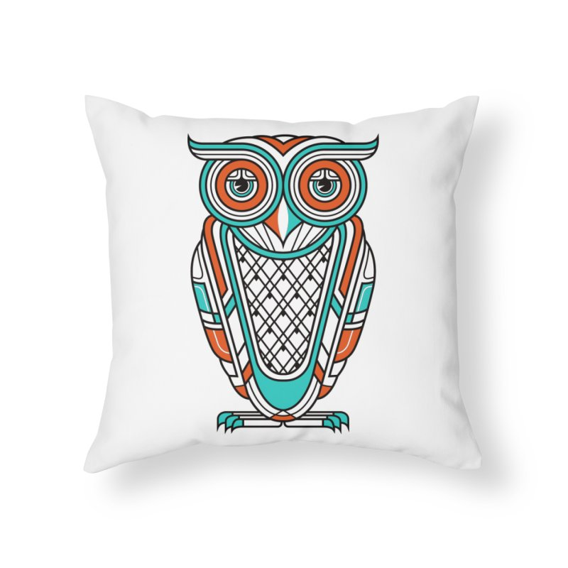 Art Deco Owl Home Throw Pillow by Qetza