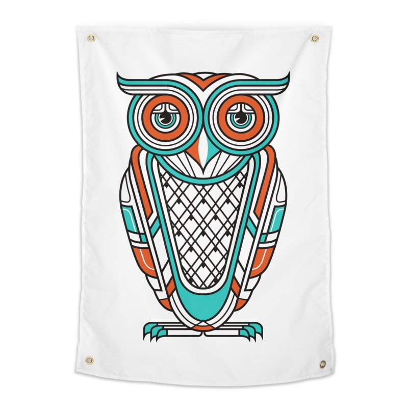 Art Deco Owl Home Tapestry by Qetza