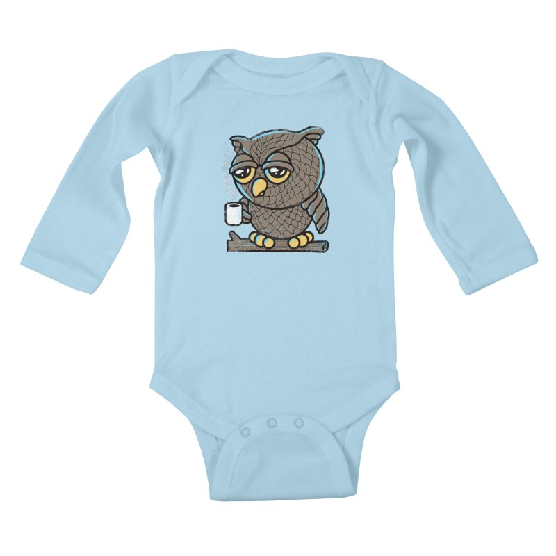 Owl I Want is Coffee Kids Baby Longsleeve Bodysuit by Qetza