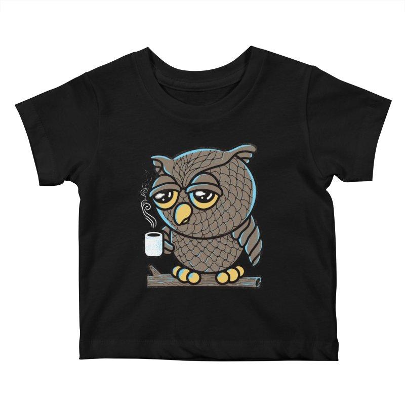 Owl I Want is Coffee Kids Baby T-Shirt by Qetza