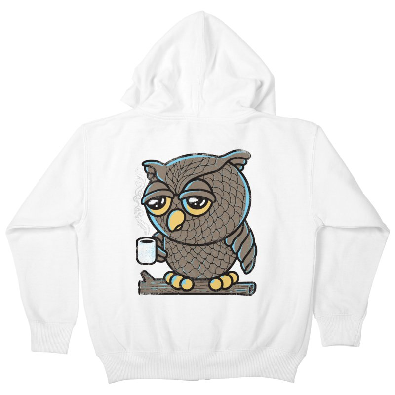 Owl I Want is Coffee Kids Zip-Up Hoody by Qetza
